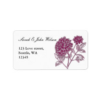 pink dahlia wedding ,return address label