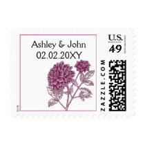 pink dahlia wedding stamps