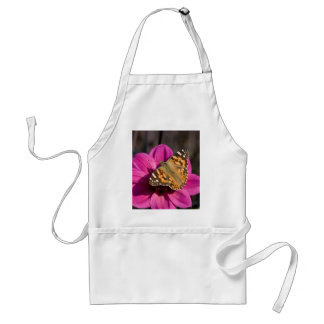 Pink Dahlia with Painted Lady Adult Apron