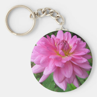 Pink Dahlia with Rain Drops Basic Round Button Keychain