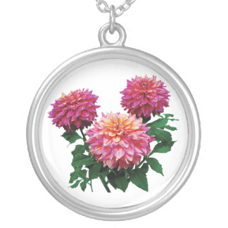 Pink Dahlias Kidds Climax Round Pendant Necklace