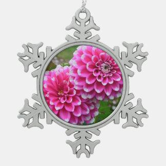 Pink dahlias print christmas ornament