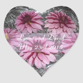 Pink Dahlias Save the Date Heart Sticker