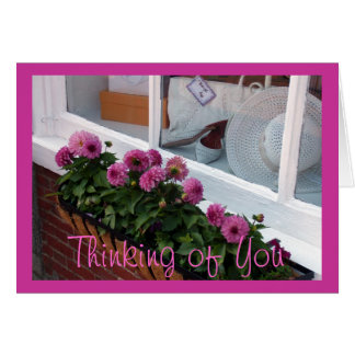 Pink Dahlias White Hat Window Box Greeting Cards