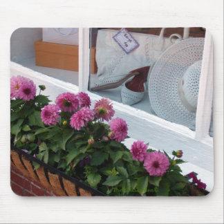 Pink Dahlias White Hat Window Box Mouse Pad