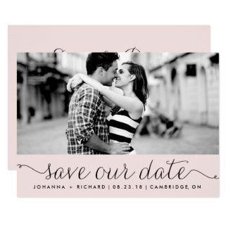 Pink Dainty Script Save Our Date Announcement