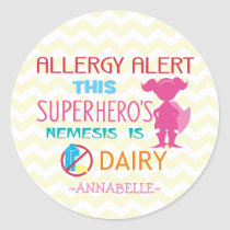 Pink Dairy Allergy Alert Superhero Girl Silhouette Classic Round Sticker