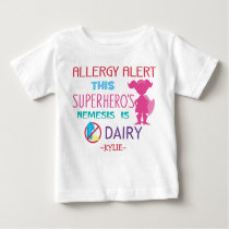 Pink Dairy Allergy Alert Superhero Girls Baby T-Shirt