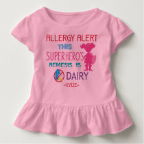 Pink Dairy Allergy Alert Superhero Girls Toddler T-shirt