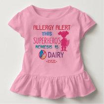Pink Dairy Allergy Alert Superhero Girls Toddler T-shirt