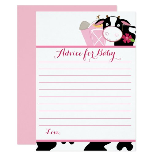 Pink Dairy Cow Baby Shower Advice Cards