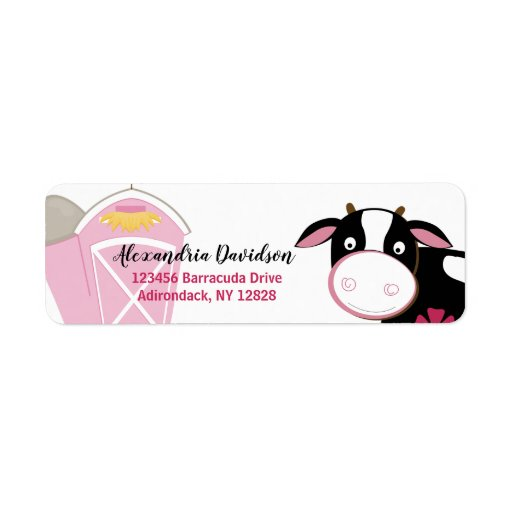 Pink Dairy Cow Custom Address Labels