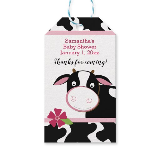 Pink Dairy Cow Custom Gift Tags