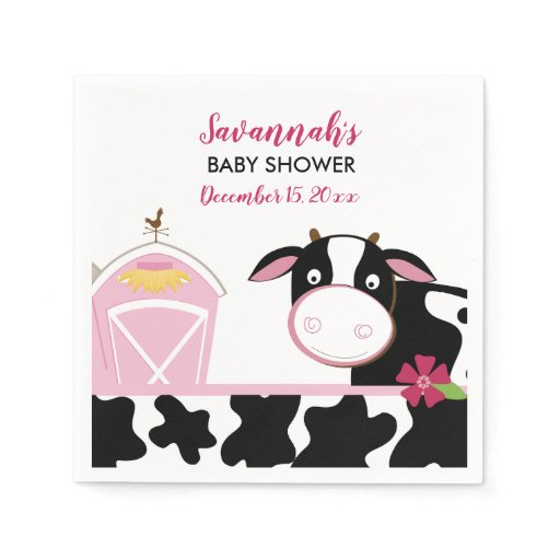 Pink Dairy Cow Custom Napkins