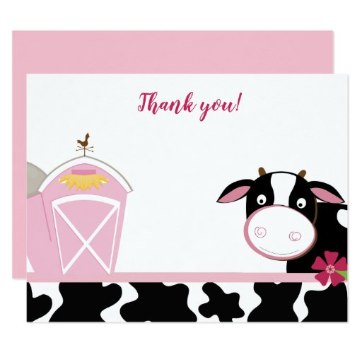 Pink Dairy Cow Farm Flat Thank you notes Card