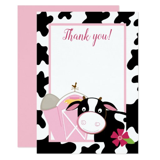 Pink Dairy Cow Flat Thank you card