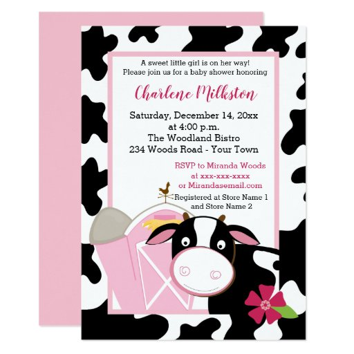 Pink Dairy Cow Girl Baby Shower Invitation