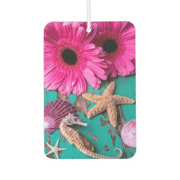 Beach Themed Pink Daises And Seahorse With Starfish Car Air Freshener