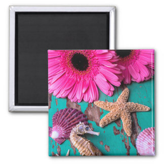 Pink Daises And Seahorse With Starfish Magnet