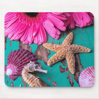 Pink Daises And Seahorse With Starfish Mouse Pad