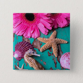 Pink Daises And Seahorse With Starfish Pinback Button
