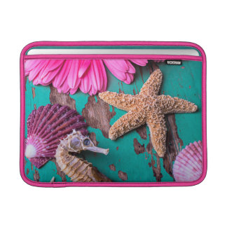 Pink Daises And Seahorse With Starfish Sleeve For MacBook Air