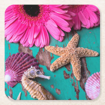 Pink Daises And Seahorse With Starfish Square Paper Coaster