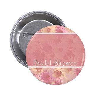 pink daises ~ bridal shower pinback buttons