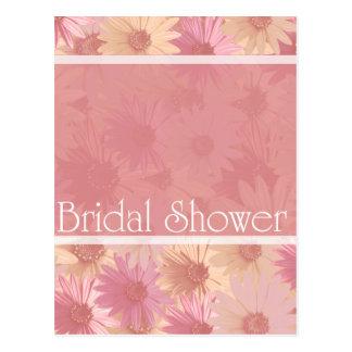pink daises ~ bridal shower postcard