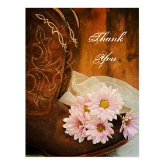 Pink Daisies and Boots Country Wedding Thank You Postcard
