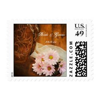 Pink Daisies and Boots Wedding Postage Stamp