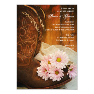 Pink Daisies and Cowboy Boots Country Wedding 5x7 Paper Invitation Card