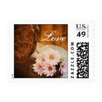 Pink Daisies and Cowboy Boots Country Wedding Love Postage