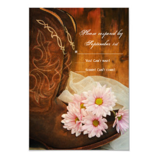 Pink Daisies and Cowboy Boots Western Wedding RSVP Card