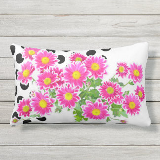 Pink Daisies / Asters Bouquet & black dots Outdoor Pillow
