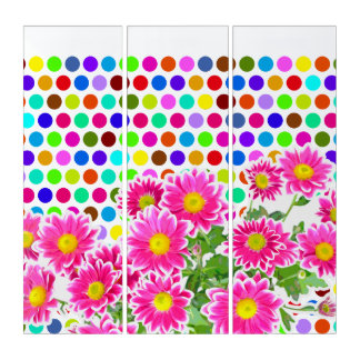Pink Daisies / Asters Bouquet / colored Polka Dots Triptych