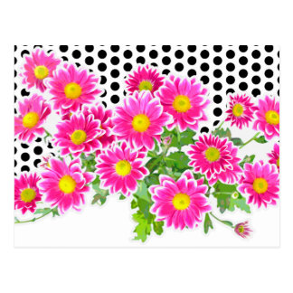 Pink Daisies / Asters Bouquet & Dots + your idea Postcard