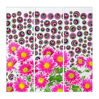 Pink Daisies / Asters Bouquet / Dots + your ideas Triptych
