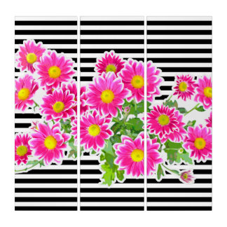 Pink Daisies, Asters Bouquet, narrow stripes white Triptych