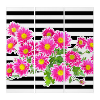 Pink Daisies, Asters Bouquet, Stripes width white Triptych