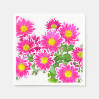 Pink Daisies / Asters Bouquet + your ideas Paper Napkin