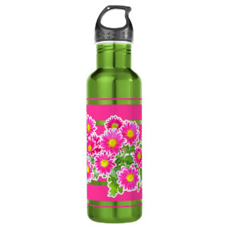Pink Daisies / Asters Bouquet + your ideas 24oz Water Bottle