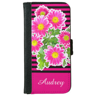 Pink Daisies / Asters Bouquet + your ideas iPhone 6 Wallet Case