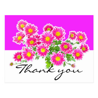 Pink Daisies / Asters Bouquet + your ideas Postcard