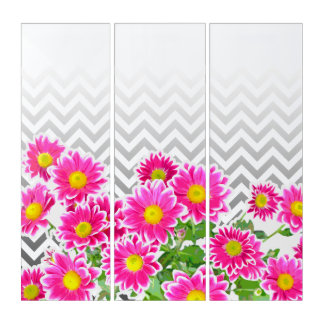 Pink Daisies / Asters Bouquet / zigzag + your idea Triptych