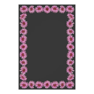 Pink Daisies Border on Gray Background Poster