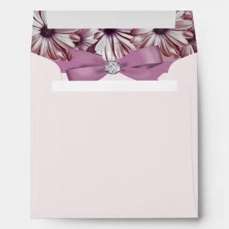 Pink Daisies Bow & Ribbon Wedding Envelope