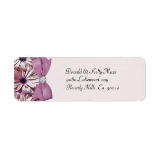 Pink Daisies Bow & Ribbon Wedding Label