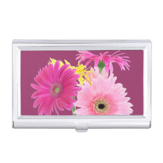 Pink Daisies Business Card Holders