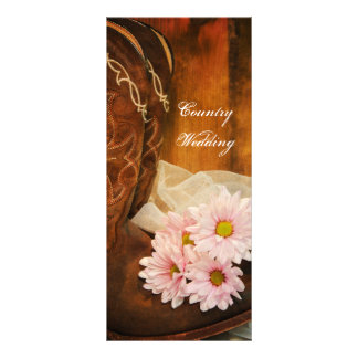 Pink Daisies Cowboy Boots Country Wedding Program